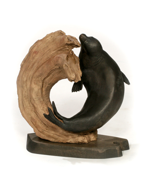 Baikal Curl (2013) Baikal Seal, Bronze, 18x16x13 inches, © Terry Woodall