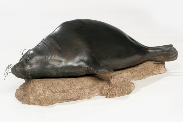 The Sentinel (2009) Baikal Seal, Bronze, 7x19x12 inches, © Terry Woodall